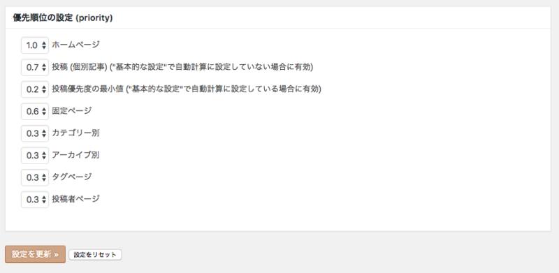 google XML Sitemap優先順位設定画面