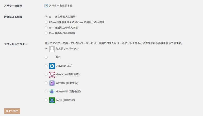 WordPressディスカッションのアバター設定画面