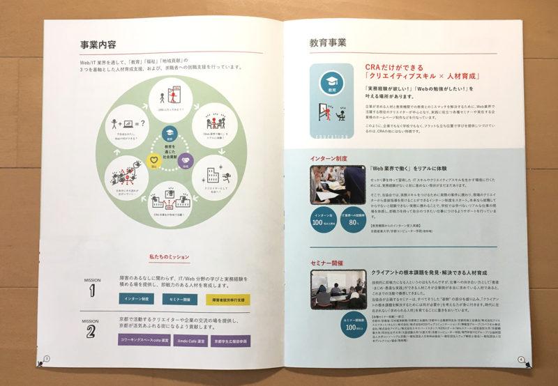 NPO法人クリエイター育成協会紹介パンフレットp3-p4事業