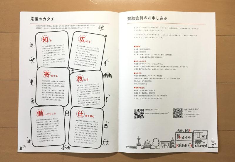NPO法人クリエイター育成協会紹介パンフレットp9ーp10支援方法と賛助会員について